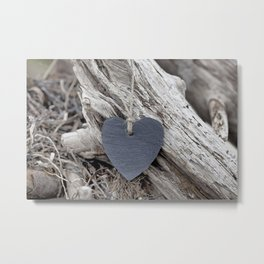 Beach Love Slate Heart on sea washed driftwood Metal Print