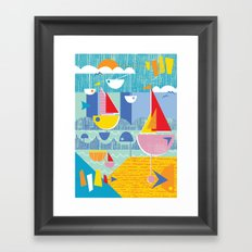 Atomic Mid Century Modern Boats Placement Print 3 Framed Art Print