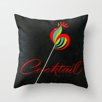 cigarettes Throw Pillows featuring Cocktail - Vintage Cigarettes by Fernando Vieira
