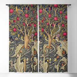 William Morris Woodpecker, Fruit Tree & Poppy Flower Garden Tapestry Textile Floral Print Blackout Curtain