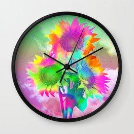 tie dye sunflowers Wall Clock