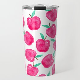 Pink turquoise watercolor apples back to school pattern Travel Mug