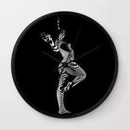 0443s-MM Black and White Zebra Striped Art Nude Figure on Black Wall Clock