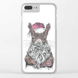 Santa Squirrel Clear iPhone Case