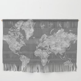 Dark gray watercolor world map with cities Wall Hanging