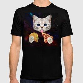 Space Cat with taco and pizza T-shirt