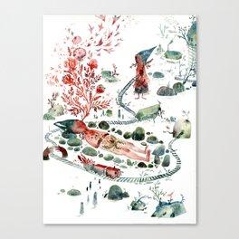 Colossal Watercolor Village Elf Gnomes Canvas Print