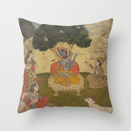 Krishna and Gopis - 19th Century Classical Hindu Art Throw Pillow