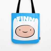 finn Tote Bags featuring FINN by Sara Eshak