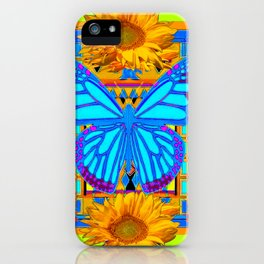 Lime Sunflower Blue Butterfly Floral iPhone Case