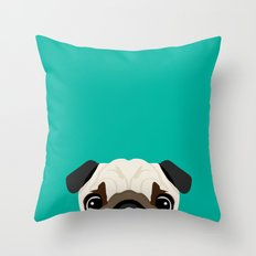 Peeking Pug Throw Pillow