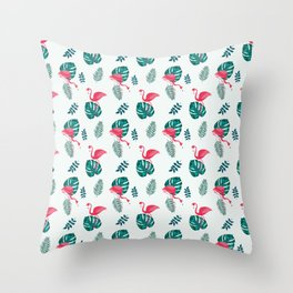 pink flamingo bird on blue and green tropical pattern Throw Pillow