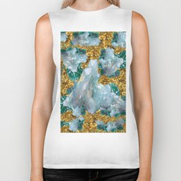 WHITE QUARTZ  CRYSTALS & BLUE-GREEN AQUAMARINE Biker Tank