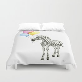 Zebra Watercolor With Heart Shaped Balloons Duvet Cover