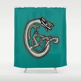 Celtic Badger Letter C Shower Curtain