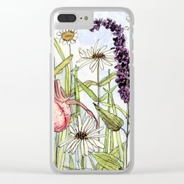 Lady Slipper Orchid Woodland Wildflower Watercolor Clear iPhone Case