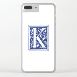 Floral Letter Type - Letter K Clear iPhone Case