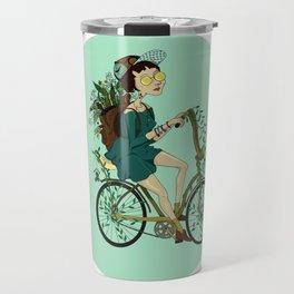 Girl with bicycle Pegas Travel Mug