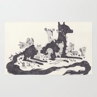 et Area & Throw Rugs featuring Le Loup et les Sept Chevreaux by yohan sacre