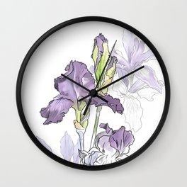 Iris - Flower botanical illustration Wall Clock
