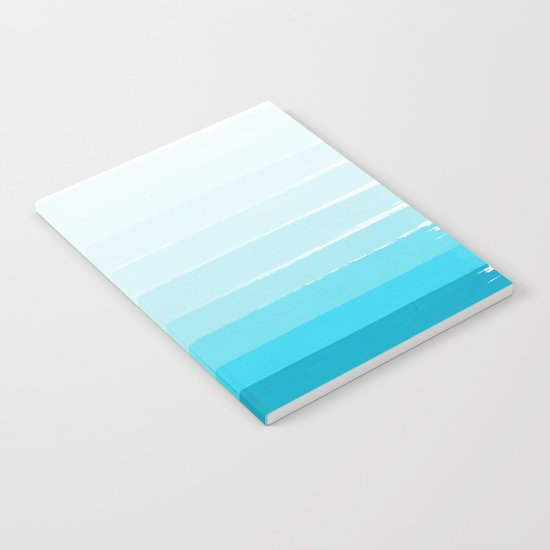 Isla - Ombre Brushstroke - Blue Turquoise, Bright, Summer, Tropical, Beach Ocean Notebook