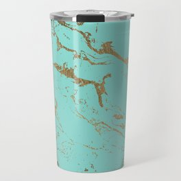 Modern teal gold marble pattern Travel Mug