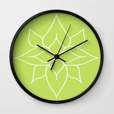 Green Floral Pattern One Wall Clock