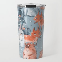Christmas pattern with cute animals Travel Mug