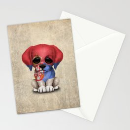 Cute Puppy Dog with flag of Serbia Stationery Cards