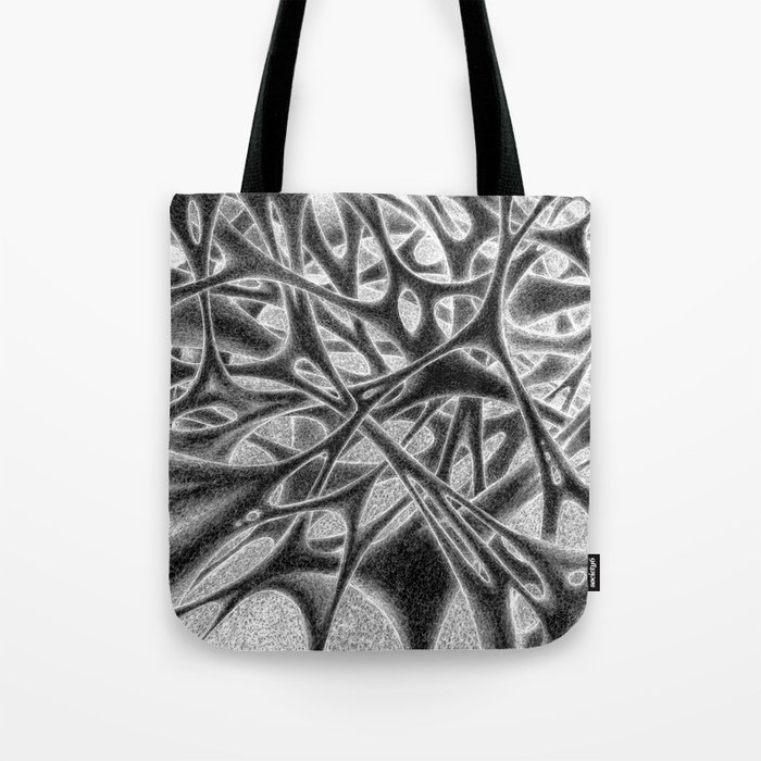 Panic with White Scribbles Tote Bag
