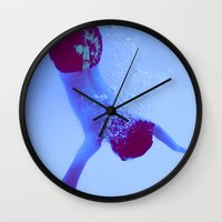 swimming Wall Clocks featuring Swimming by ebadenlasar