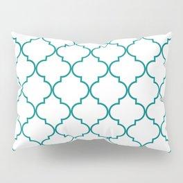 Quatrefoil - white with teal Pillow Sham