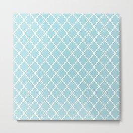 Moroccan Trellis, Latticework - Blue White Metal Print
