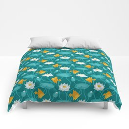 Tangram goldfish and water lillies Comforters