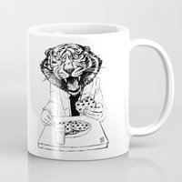cookie monster Mugs featuring tiger eating cookie by Alexis Bacci Leveille
