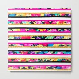 Neon floral pattern pink gold glitter stripes Metal Print