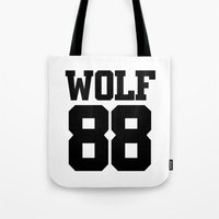 exo Tote Bags featuring EXO WOLF 88 by Cathy Tan