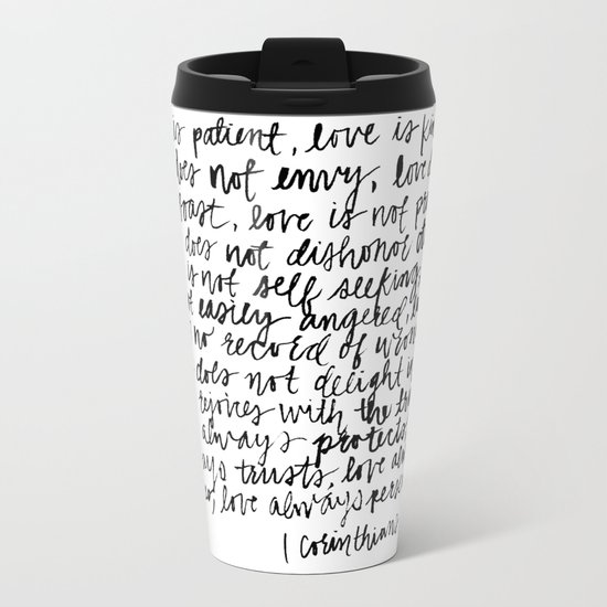 love is patient, love is kind Metal Travel Mug