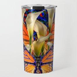 DECORATIVE WHITE CALLA LILIES & MONARCH BUTTERFLY GARDEN COLLAGE Travel Mug