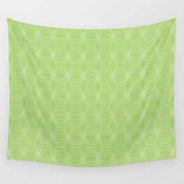 hopscotch-hex bright green Wall Tapestry