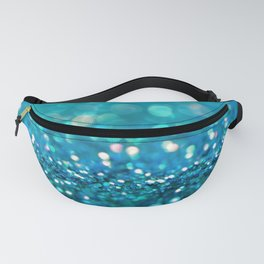 Teal turquoise blue shiny glitter print effect - Sparkle Luxury Backdrop Fanny Pack