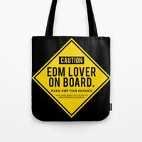 edm Tote Bags featuring EDM Lover On Board. Please Keep Distance (black) by DropBass