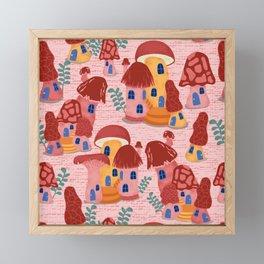 Mushroom Town Strawberry Pink Framed Mini Art Print