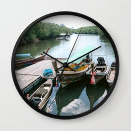 Boats on a river in Thailand Wall Clock