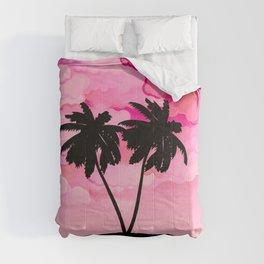 Palm Tree Silhouette Against Dawn Pink with Clouds Comforters