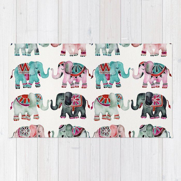 Elephant Collection – Turquoise & Coral Palette Rug