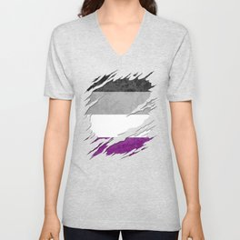 Asexual Pride Flag Ripped Reveal Unisex V-Neck