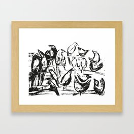 Birds white and black drawing illustration Framed Art Print