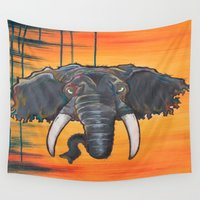 dumbo Wall Tapestries featuring Not so Dumbo (Elephant) by Kai Monster