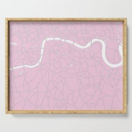 London Pink on White Street Map Serving Tray